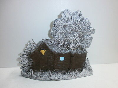alte Durolin Massefigur Wildwest Blockhaus Winter für Cowboys und Indianer 7.5cm