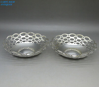 ANTIQUE PAIR OF STYLISH SOLID STERLING SILVER PIERCED SWEETMEAT DISHES 67g 1910