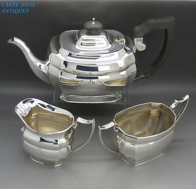 GEORGIAN STYLE GOOD HEAVY SOLID STERLING SILVER 3PS TEA SET, P.Bros, 1032g 1948