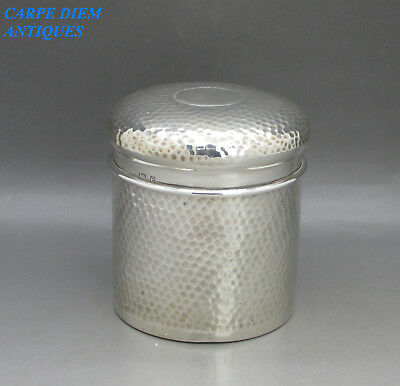 ANTIQUE SUPERB HAND WROUGHT SOLID STERLING SILVER BACHELORS TEA CADDY, 160g 1904
