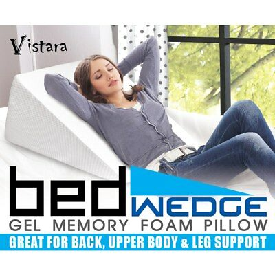 COOL GEL Wedge Memory Foam Pillow Neck Back SLEEP Support Cushion Washable Cover