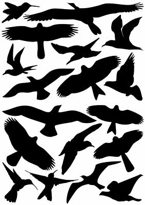 18 Bird Silhouettes Protective Warning Sticker For Windows Glass Protection
