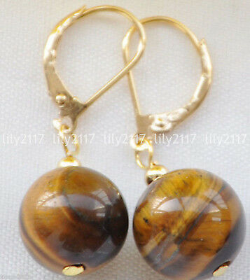 Natural 8-14mm Yellow Tiger's eye Gems Round bead Gold Leverback Dangle Earrings