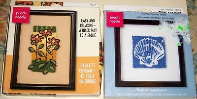 """2 Dimension Punch Needle Kits 5"""" X 7"""", 6"""" X 6"""" Floral, Sea Shell"""