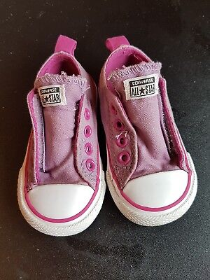 Girls Baby Toddlers Infants Low Top All Star Converse Trainers Size Uk 4