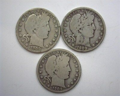 1909, 1909-S & 1909-O Barber Silver 50 Cents  Nice 3 Coin Collection