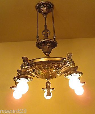 Vintage Lighting antique 1920s brass pan chandelier rewired