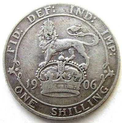 Great Britain Uk Coins, One Shilling 1906, Edward Vii, Silver 0.925