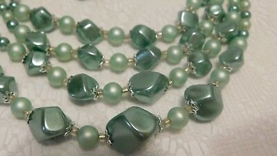 1950s VINTAGE ESTATE  BEADED 4 STRAND NECKLACE BUTTON CLIP EARRINGS MINT GREEN