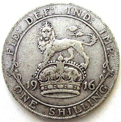 Great Britain Uk Coins, One Shilling 1916, George V, Silver 0.925