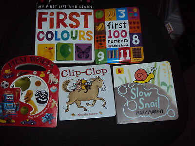 5 Baby Board Book Bundle First Colours Numbers Words Clip Clop Slow Snail