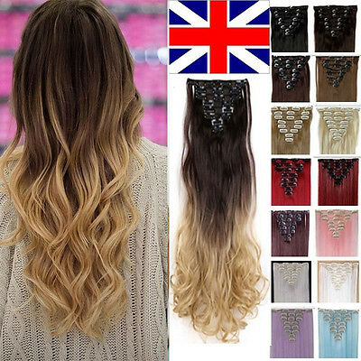 Full Head Real Thick Clip In Hair Extensions Long Curly Straight 8 Piece Human