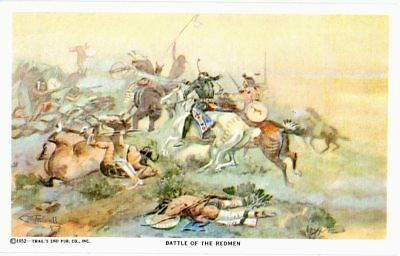 Postcard Battle Of The Redmen Charles M Russell Cowboy Artist 1952 Signed Indian