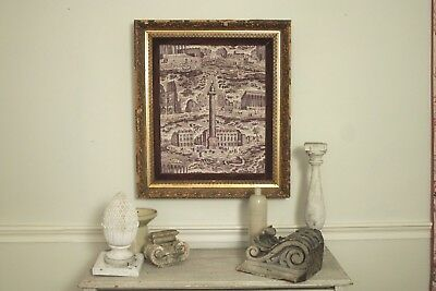 Antique French framed Toile de Jouy fabric PARIS monuments purple art Napoleon