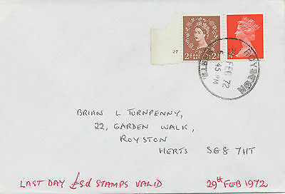 2469 1972 Wilding 2 D (with Cyl.-Nr. 27) and Machin 4 D red on LAST DAY Cover!!!