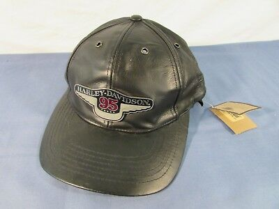 Harley Davidson 95th Anniversary Leather Cap NWT One Size