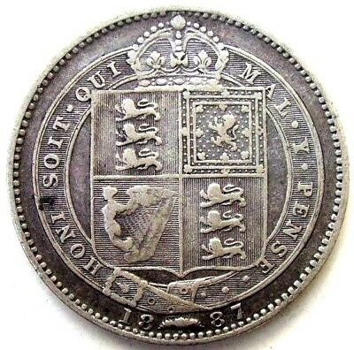 Great Britain Uk Coins, One Shilling 1887, Victoria, Silver 0.925