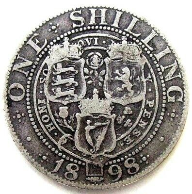 Great Britain Uk Coins, One Shilling 1898, Victoria, Silver 0.925