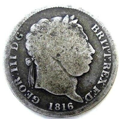 Great Britain Uk Coins, One Shilling 1816, George Iii, Silver 0.925