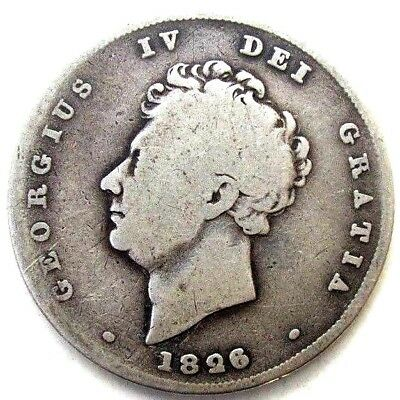 Great Britain Uk Coins, One Shilling 1826, George Iv, Silver 0.925