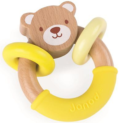 Janod BABY POP BEAR RATTLE Baby Toy Activity Wooden Rattle BN
