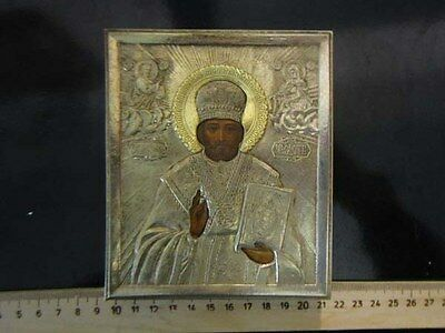 Antique Russian icon St. Nicholas miracle worker gesso tempera silvered gildet