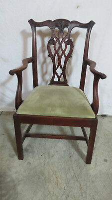 Nice Chippendale Solid Mahogany Captains Chair