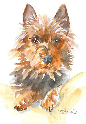 Original Watercolor Australian Terrier Double Matted 8x10 Ready to Frame