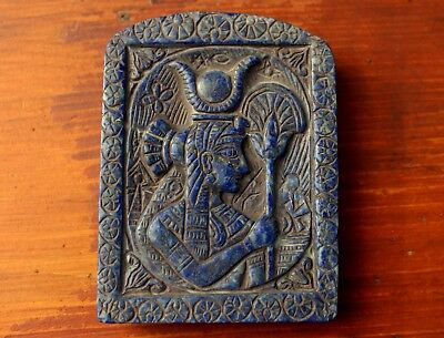 Very Rare Large Ancient Carving On A Lapis Lazuli Stone Slab Of Queen Nefertiti