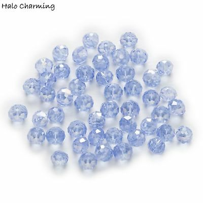50 Piece Light Blue AB Crystal Glass Faceted Beads Jewelry Making Rondelle 6x4mm