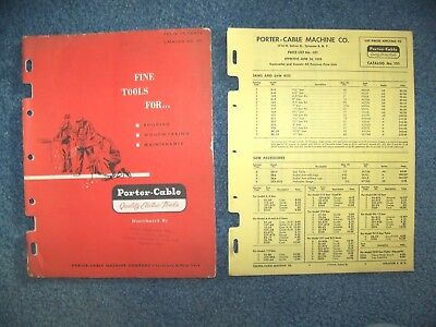 1953 Porter-Cable Machine Co. Electric Power Tools Catalog # 101 w/price list