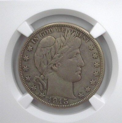 1915-D BARBER SILVER HALF DOLLAR NGC VF-30 LISTS FOR $150 McCLURE COLLECTION