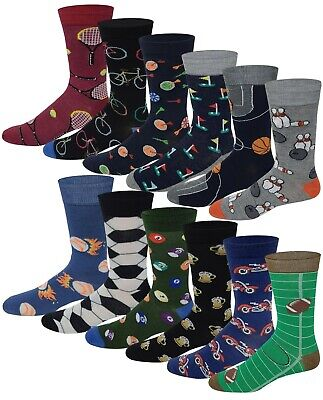 Different Touch 12 Pairs Men's Assorted Sports Design Crew Socks 10-13