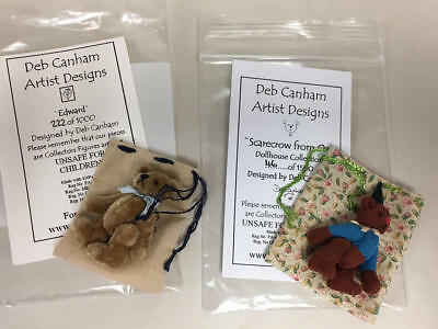 Deb Canham Pair Of Miniature Bears - Edward & Oz Scarecrow