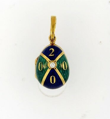Exquisite 18k Gold Faberge Enamel & Diamond Egg Pendant w/ Box Limited Edition