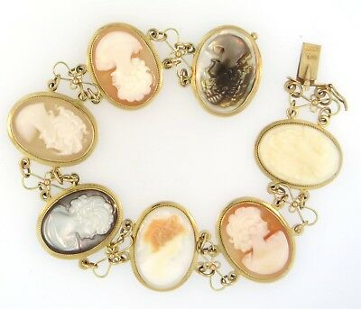 Spectacular Classic Antique Vintage Shell Multi Cameo Bracelet 14K Gold NoReserv