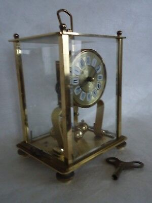 Vintage Brass Glass Kern 400 Day Clock. Untested