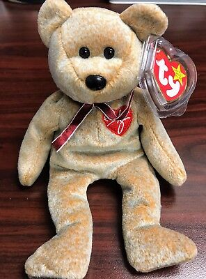 """TY Retired Beanie Baby """"1999 SIGNATURE"""" Bear - w/Heart Tag Protector"""