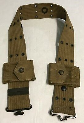 Orig WWI M-1912 Garrison Belt with 2 Mills 1917 Dtd Pouches w/Rimmed Eagle Snaps