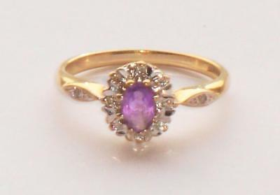 Superb Quality Large Very Pretty Antique Vintage Amethyst & Diamond Gold Ring