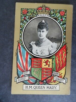 Great Britain Royalty Queen Mary Fancy Border Coat Of Arms Postcard