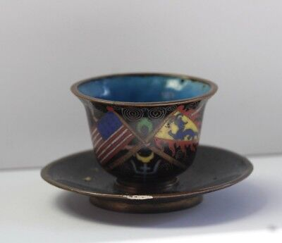 Antique Early 20thC Chinese Cloisonne Enamel American Flag Tea Cup & Saucer