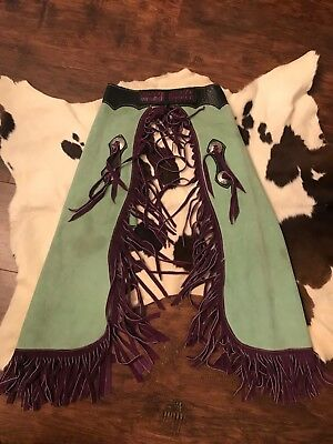 """Kids Pro Rodeo handmade leather chaps with fringe green and purple 29""""x24"""""""