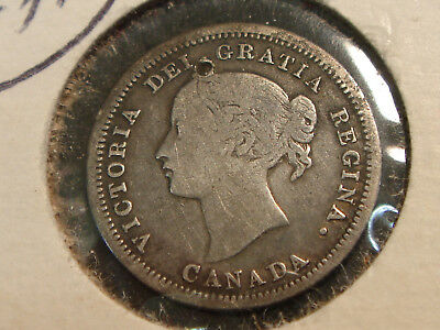 1858 Canada Queen Victoria Silver 5 Cents F details - hole on obverse