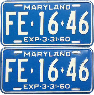 1959 1960 MARYLAND license plate PAIR (GIBBY CHOICE)