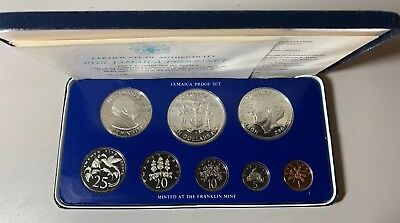 1975 Eight Coin Jamaica Proof Set Silver Coins Franklin Mint Coa