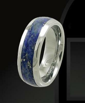 Rising Time Tungsten Band With Lapis Lazuli Stone Inlay Ring Size- 11
