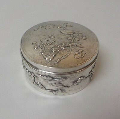 Chinese Export 900 Silver Round Embossed Box, marked Sing Fat, c. 1900