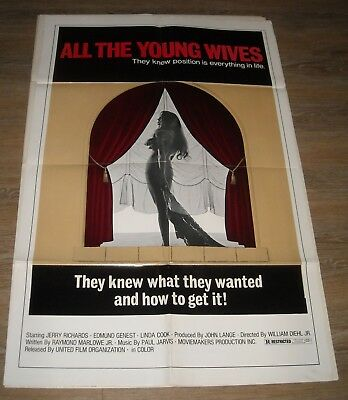 1970's ALL the YOUNG WIVES 1 SHEET MOVIE POSTER GGA SEXPLOITATION LINDA COOK