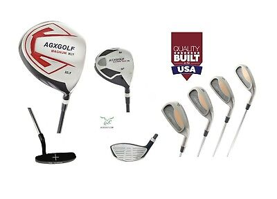AGXGOLF +2 INCH TALL MENS EXECUTIVE GOLF CLUB SET 460c DRIVER+WOODS+IRONS+PUTTER